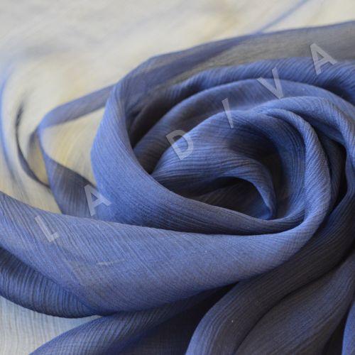 Шелковый креш-шифон  темно-синего цвета