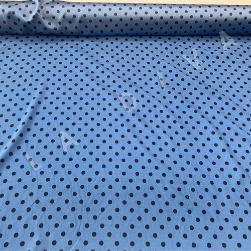 Итальянский шелк в горох на голубом фоне