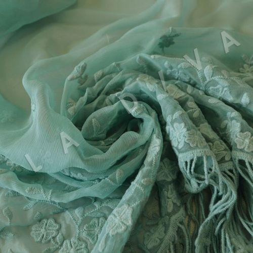 Оригинальная вышивкана креш-шифоне мятного цвета