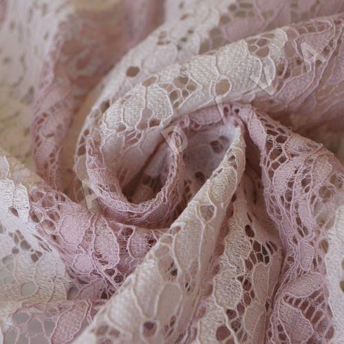 Оригинальный гипюр в полоску нежно-розового цвета