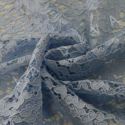 Хлопковое кружево голубого цвета с кордовой нитью