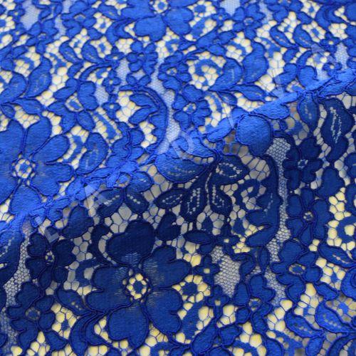 Хлопковое кружево с кордовой нитью синего цвета