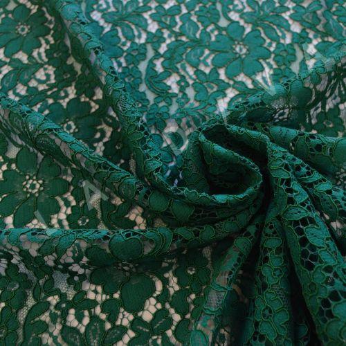 Хлопковое кружево с кордовой нитью зеленого цвета