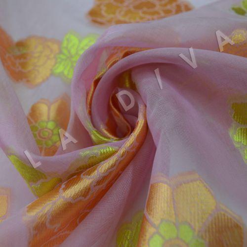 """Шелковая органза-деворе """"Цветы"""""""