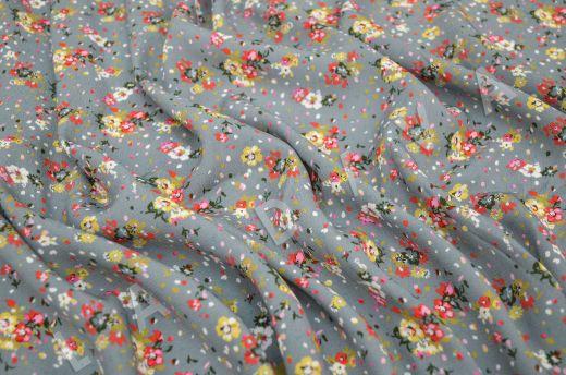 креповая вискоза с цветочным принтом на сером фоне рис-2