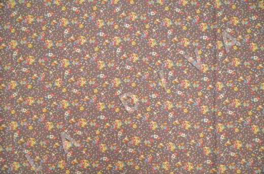 штапель вискоза с цветочным принтом на коричневом фоне рис-4