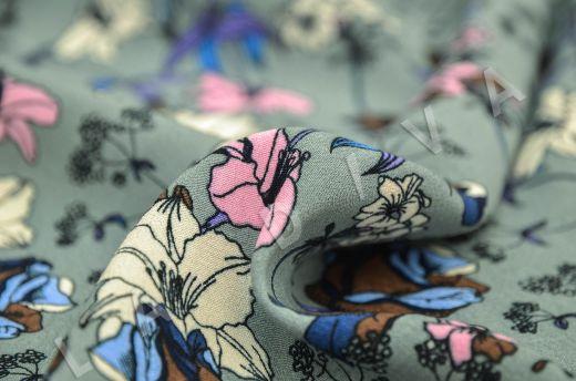 креповая вискоза с цветочным принтом на сером фоне рис-5