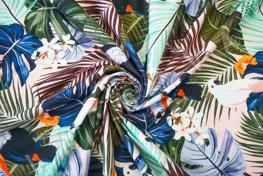 дизайнерский хлопок «Туканы» на персиковом фоне рис-3