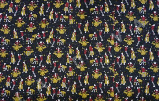 дизайнерский сорочный хлопок «Музыканты» на черном фоне рис-2