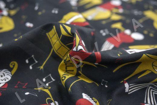 дизайнерский сорочный хлопок «Музыканты» на черном фоне рис-3