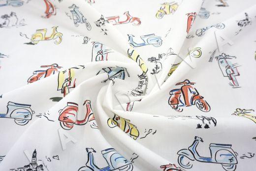 дизайнерский сорочечный хлопок «Мопеды»