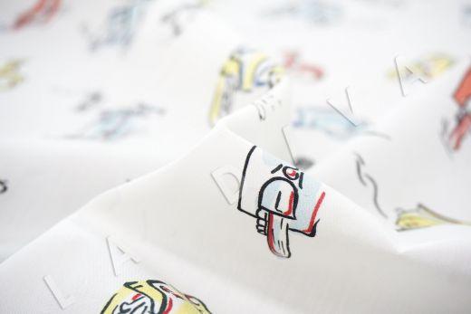 дизайнерский сорочечный хлопок «Мопеды» рис-3