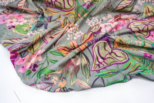 дизайнерский сорочечный хлопок с принтом на сером фоне рис-2