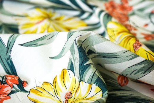 дизайнерский сорочечный хлопок с цветочным принтом на белом фоне рис-3