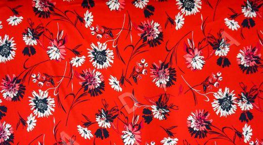 дизайнерский сорочечный хлопок с цветочным принтом на красном фоне