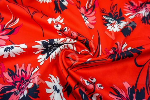 дизайнерский сорочечный хлопок с цветочным принтом на красном фоне рис-2