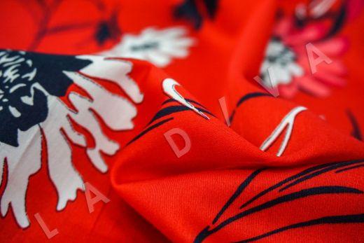 дизайнерский сорочечный хлопок с цветочным принтом на красном фоне рис-3