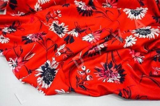 дизайнерский сорочечный хлопок с цветочным принтом на красном фоне рис-5