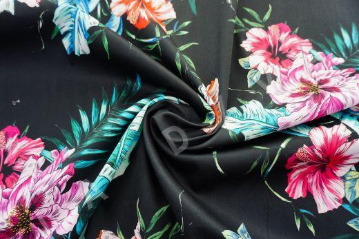 дизайнерский сорочечный хлопок с цветочным принтом на черном фоне рис-2