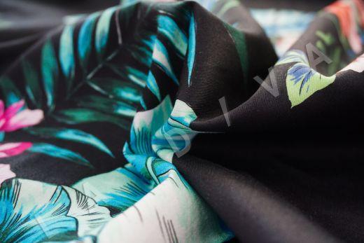 дизайнерский сорочечный хлопок с цветочным принтом на черном фоне рис-3