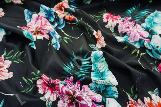 дизайнерский сорочечный хлопок с цветочным принтом на черном фоне рис-4