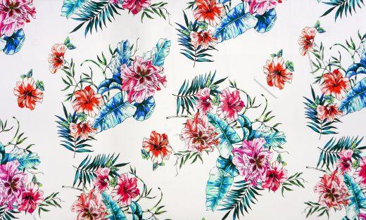 дизайнерский сорочечный хлопок с цветочным принтом на белом фоне