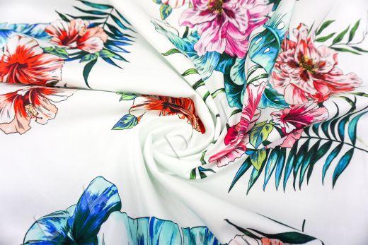 дизайнерский сорочечный хлопок с цветочным принтом на белом фоне рис-2