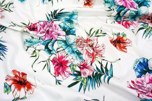 дизайнерский сорочечный хлопок с цветочным принтом на белом фоне рис-4