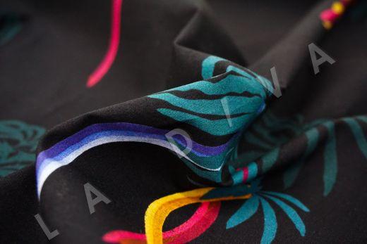 """дизайнерский сорочечный хлопок """"Пальмы"""" на черном фоне рис-3"""