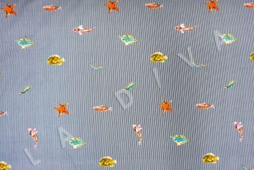 """дизайнерский сорочечный хлопок """"Рыбы"""" на сине-белом фоне в полоску рис-3"""