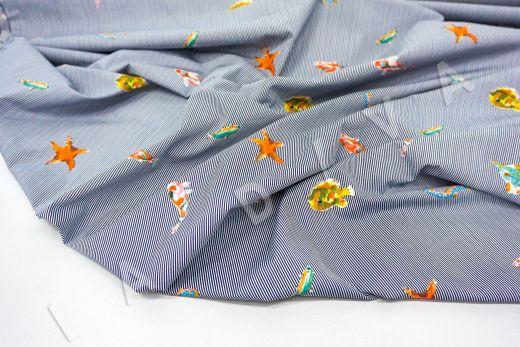 """дизайнерский сорочечный хлопок """"Рыбы"""" на черно-белом фоне в полоску рис-4"""
