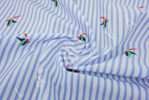 """дизайнерский сорочечный хлопок """"Попугаи"""" на бело-голубом фоне рис-3"""