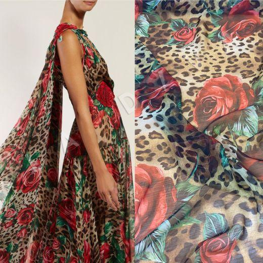 Шелковый шифон «Розы и леопард» Dolce Gabbana 2019 рис-2