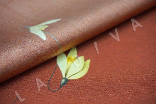 Шелк с эластаном «Подснежники» на кирпичом фоне рис-3