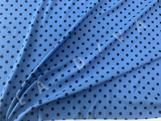 Итальянский шелк в горох на голубом фоне рис-4