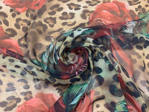 Шелковый шифон «Розы и леопард» Dolce Gabbana 2019 рис-4