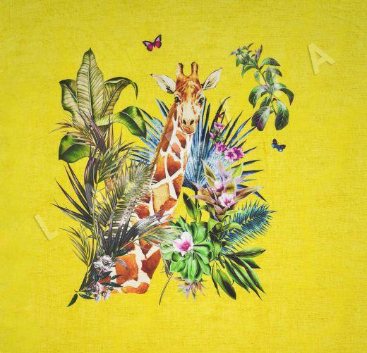 шелковый батист с жирафом по мотивам DG желтый цвета рис-4