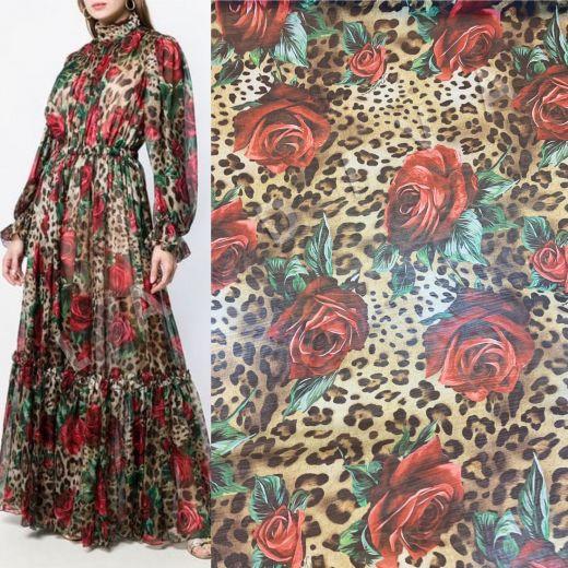 Шелковый шифон «Розы и леопард» Дольче Габбана 2019