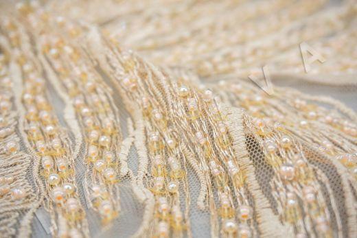 вышивка на сетке с с бисером бежевого цвета рис-2