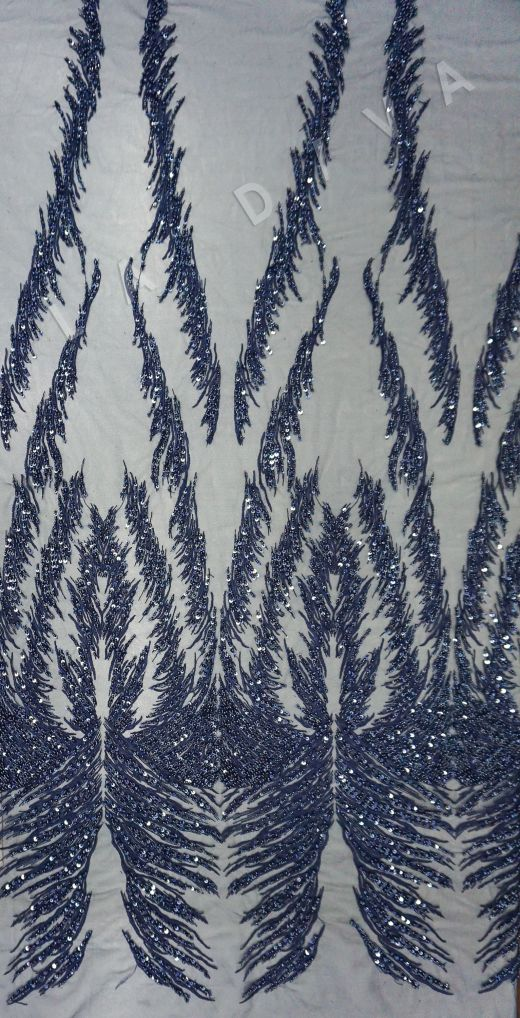 вышивка на сетке с с бисером синего цвета рис-2