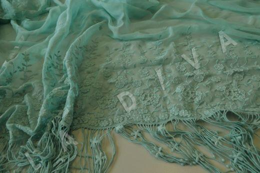 Оригинальная вышивкана шелковом креш-шифоне мятного цвета рис-2