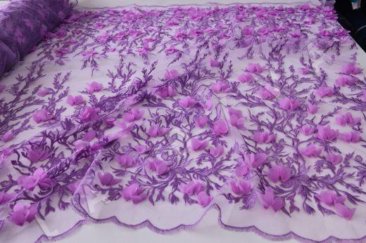 Вышивка на сетке  c 3D цветами рис-3