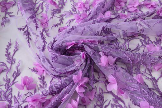 Вышивка на сетке  c 3D цветами рис-2