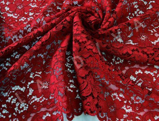 Хлопковое кружево красного цвета с кордовой нитью