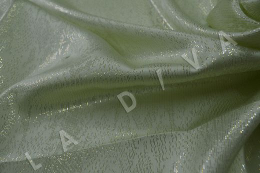 Оригинальный шелк с люрексом салатового цвета рис-3
