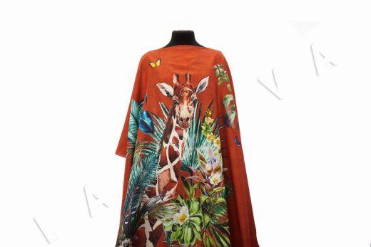 шелковый батист с жирафом по мотивам DG на красном фоне рис-4