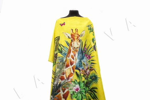 шелковый батист с жирафом по мотивам DG желтый цвета рис-6