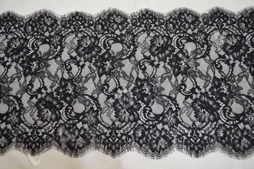 кружево шантильи с ресничками черного цвета