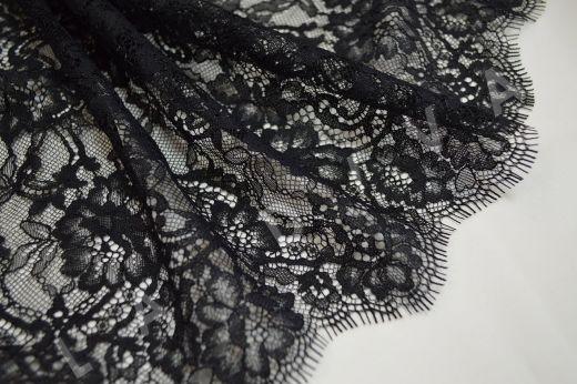 кружево шантильи с ресничками черного цвета рис-2