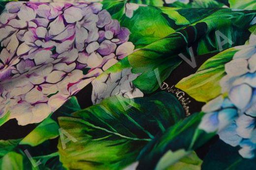"""Итальянский подписной шелк """"Гортензии"""", сток Dolce&Gabbana рис-3"""